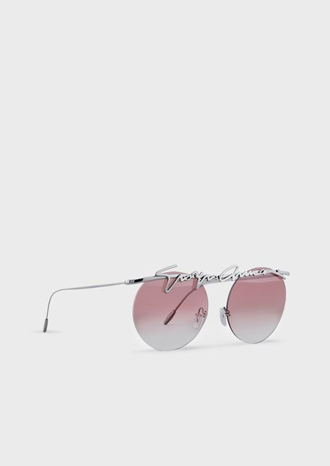 Rimless round woman sunglasses