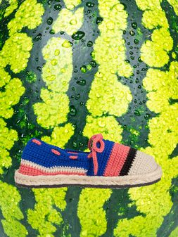 Marni MARNI MARKET espadrilles in blue pink beige and black cotton and fique  Man