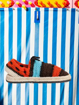 Marni MARNI MARKET espadrille sandals in  turquoise, red, black and brown cotton and fique Man