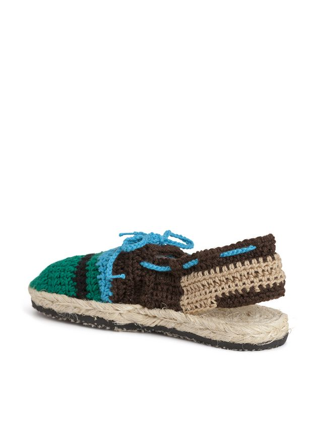 Marni MARNI MARKET espadrille sandals in turquoise, green, beige and brown cotton and fique  Man - 2