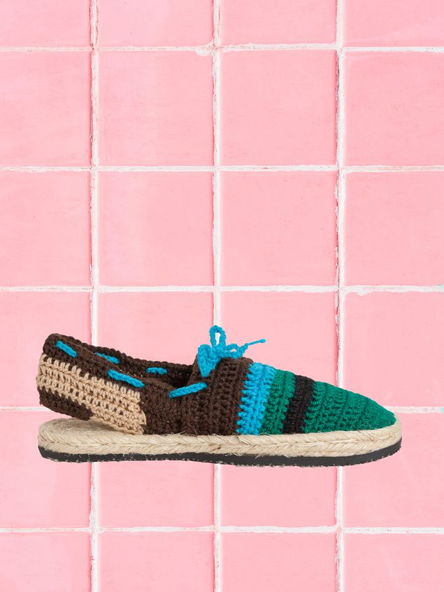 Marni MARNI MARKET espadrille sandals in turquoise, green, beige and brown cotton and fique  Man - 1