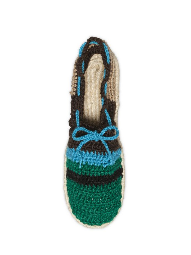 Marni MARNI MARKET espadrille sandals in turquoise, green, beige and brown cotton and fique  Man - 3