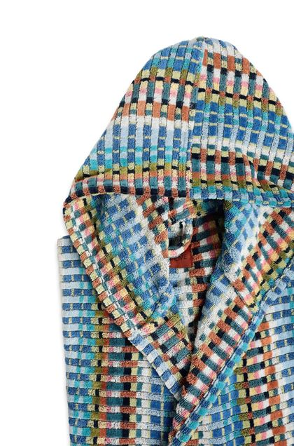 MISSONI HOME WALBERT HOODED BATHROBE Pastel blue E - Front
