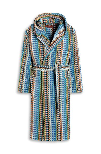 MISSONI HOME WALBERT HOODED BATHROBE Pastel blue E - Back
