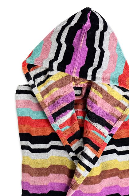 MISSONI HOME WILBUR HOODED BATHROBE Black E - Front