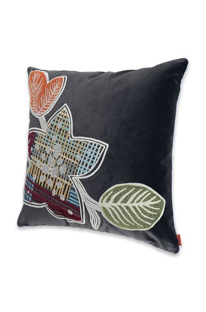 MISSONI HOME WAILUA_RICAMATO CUSHION Steel grey E - Back