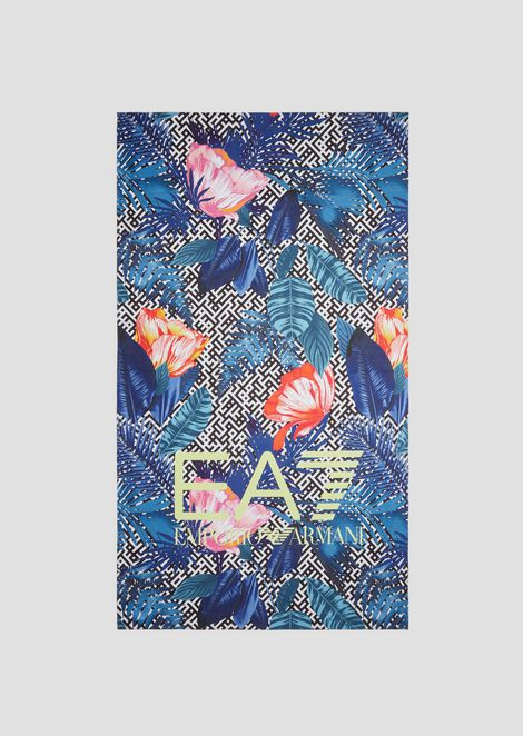 Microfibre beach towel with tropical flower pattern