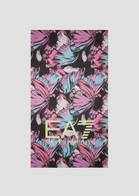 热带花卉图案微纤维沙滩巾