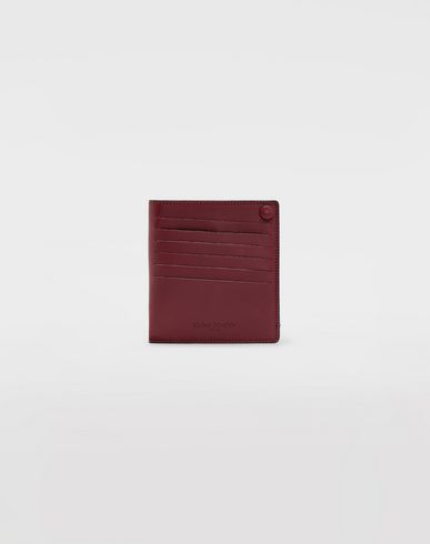 ACCESSORIES Leather popper wallet Maroon