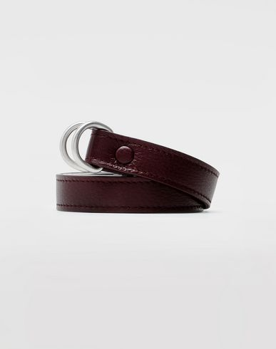 ACCESSORIES Slim leather belt Maroon
