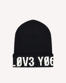 "REDValentino Knitted-wool hat with ""Love You"" inlay"