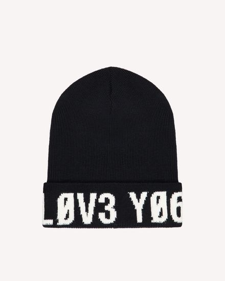 "Knitted-wool hat with ""Love You"" inlay"