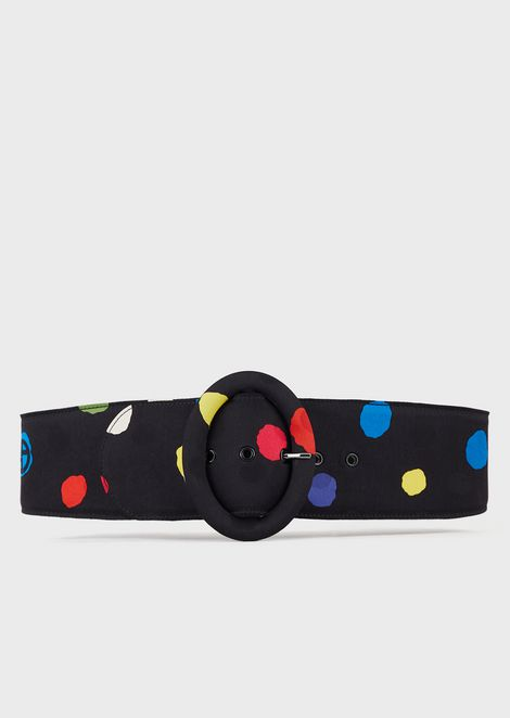 Wide belt in polka-dot fabric