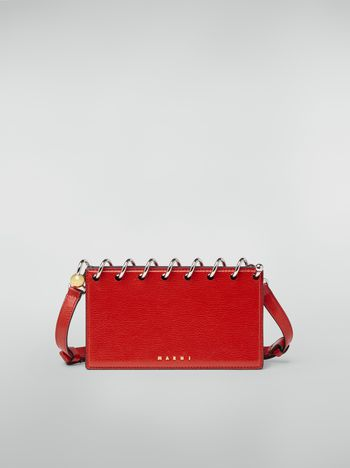 Marni SPRING bag in grained leather with top spiral red Woman f