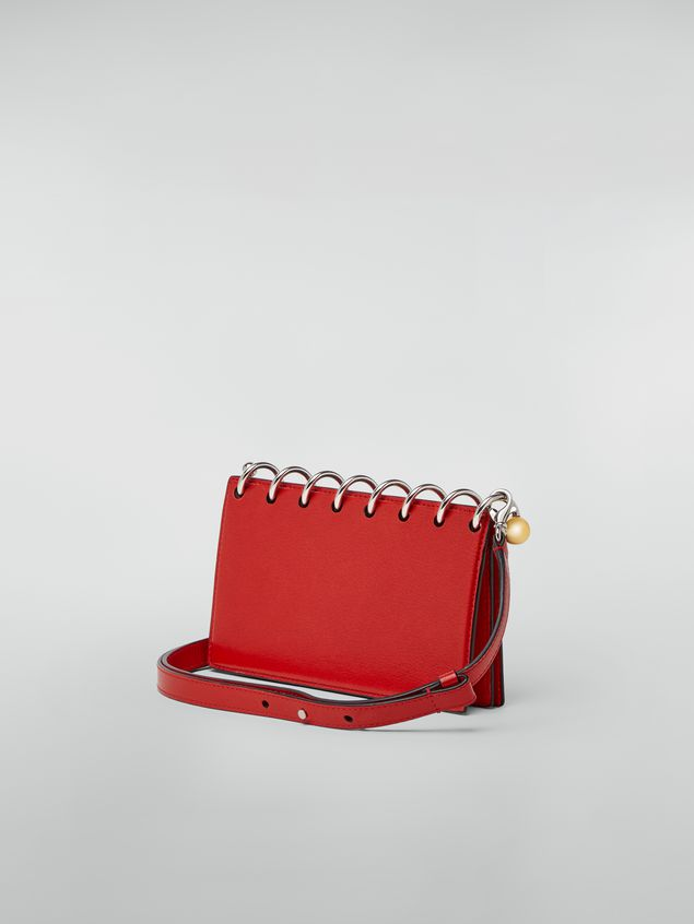 Marni SPRING bag in grained leather with top spiral red Woman
