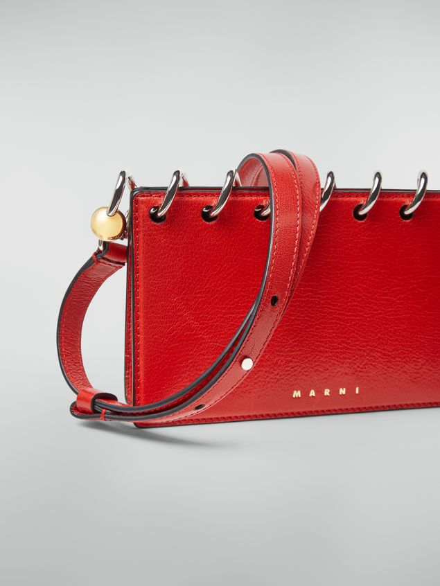 Marni SPRING bag in grained leather with top spiral red Woman - 5