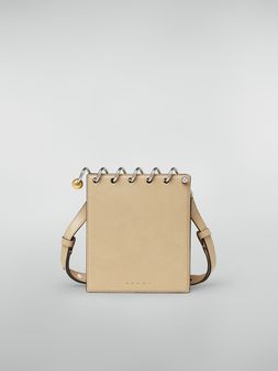 Marni SPRING bag in grained leather with top spiral beige Woman