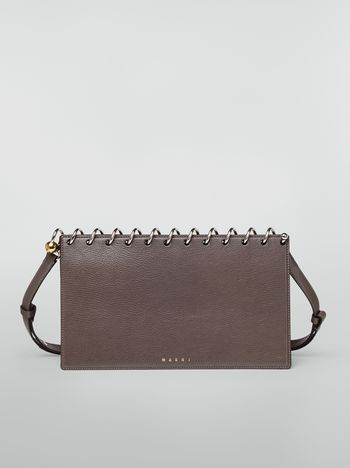 Marni SPRING bag in grained leather with top spiral grey Woman f