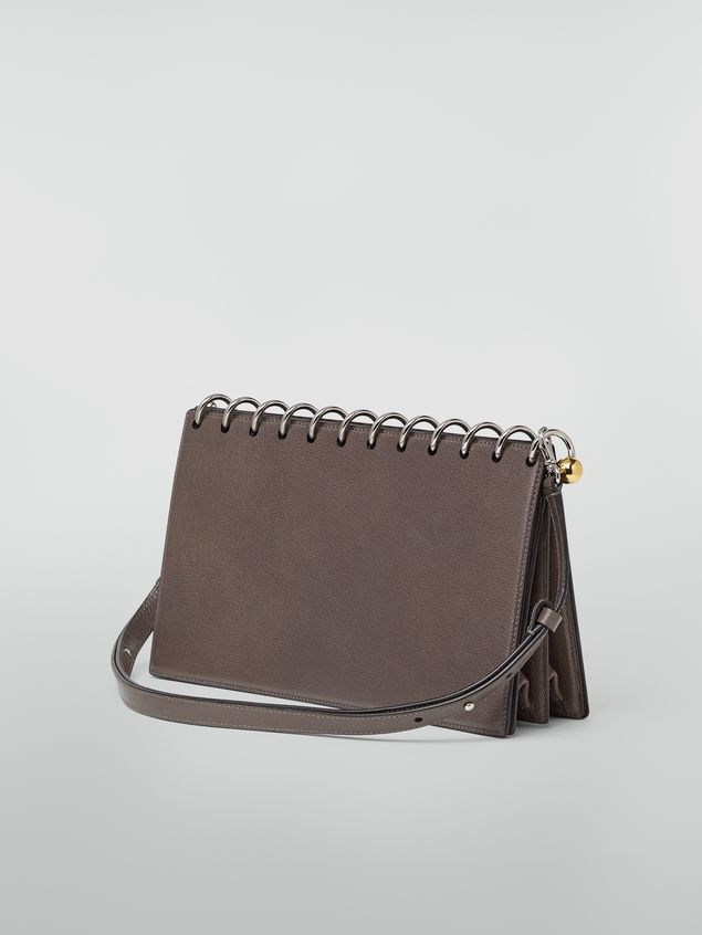 Marni SPRING bag in grained leather with top spiral grey Woman