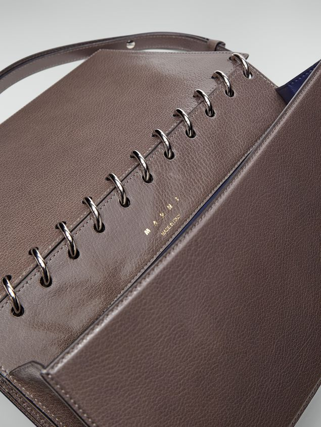 Marni SPRING bag in grained leather with top spiral grey Woman - 5