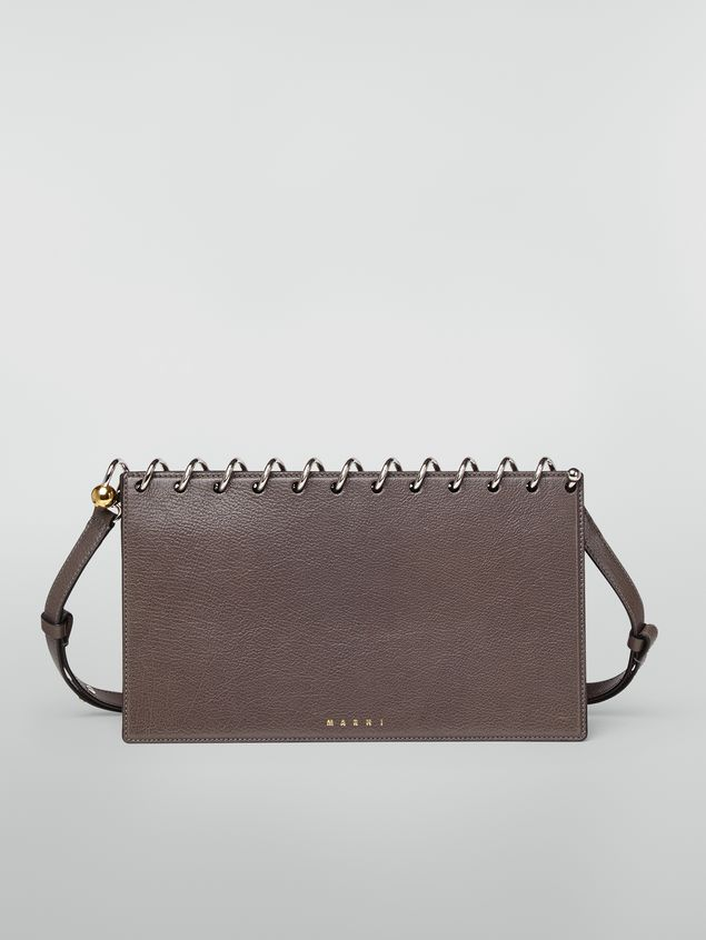 Marni SPRING bag in grained leather with top spiral grey Woman - 1