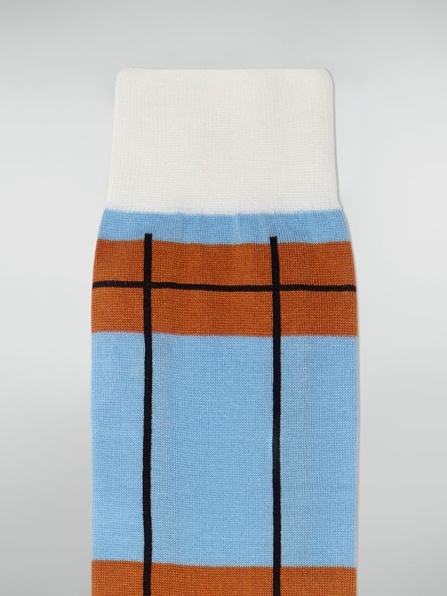 Marni Sock in chequered cotton and polyamide blue Woman - 3