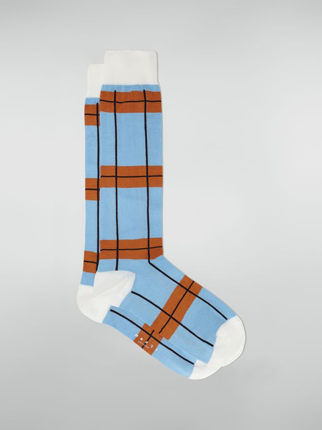 Marni Sock in chequered cotton and polyamide blue Woman - 1