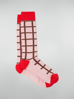 Marni Sock in chequered cotton and polyamide pink Woman
