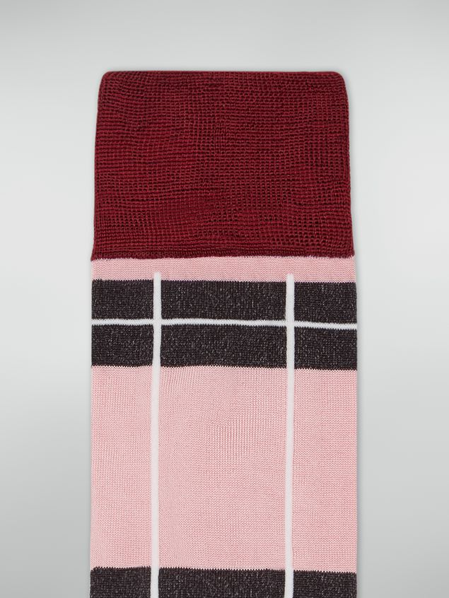 Marni Sock in chequered cotton and polyamide pink red and grey Woman - 3