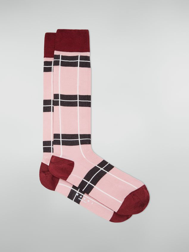 Marni Sock in chequered cotton and polyamide pink red and grey Woman - 1