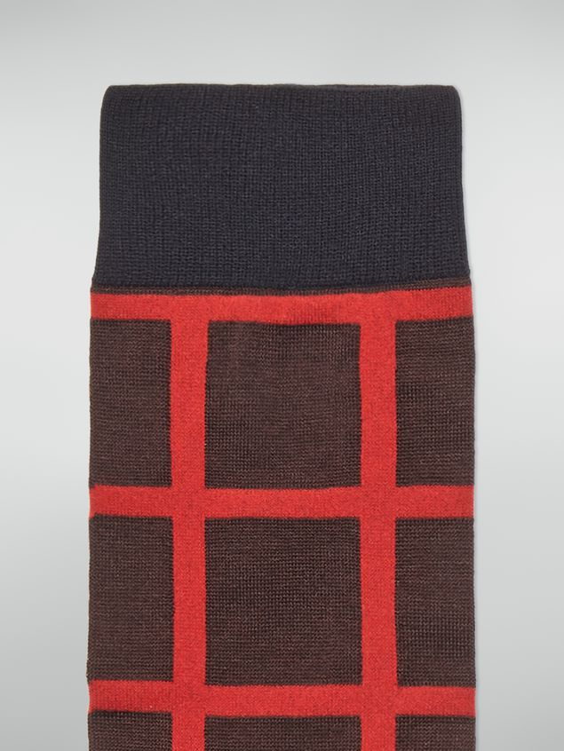 Marni Sock in chequered cotton and polyamide beige red and brown Woman - 3