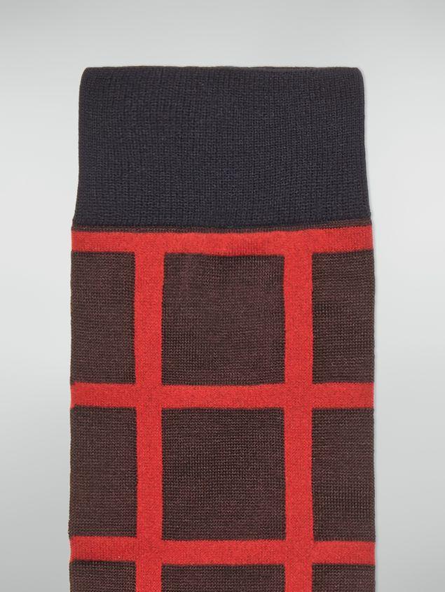 Marni Calcetín de algodón y poliamida a cuadros beige, rojo y marrón Mujer - 3