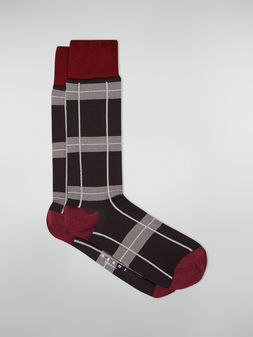 Marni Sock in chequered cotton and polyamide dark grey light grey and red Woman