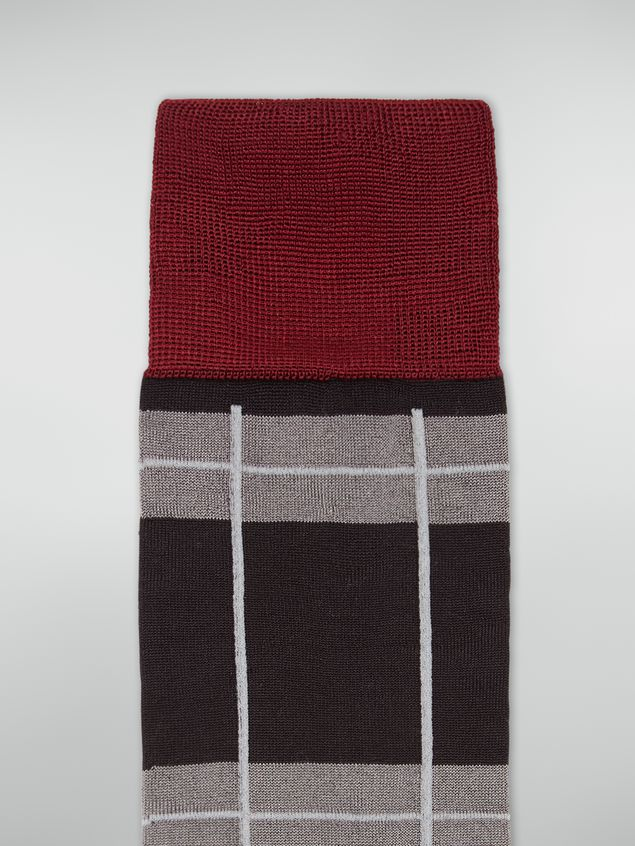 Marni Sock in chequered cotton and polyamide dark grey light grey and red Woman - 3