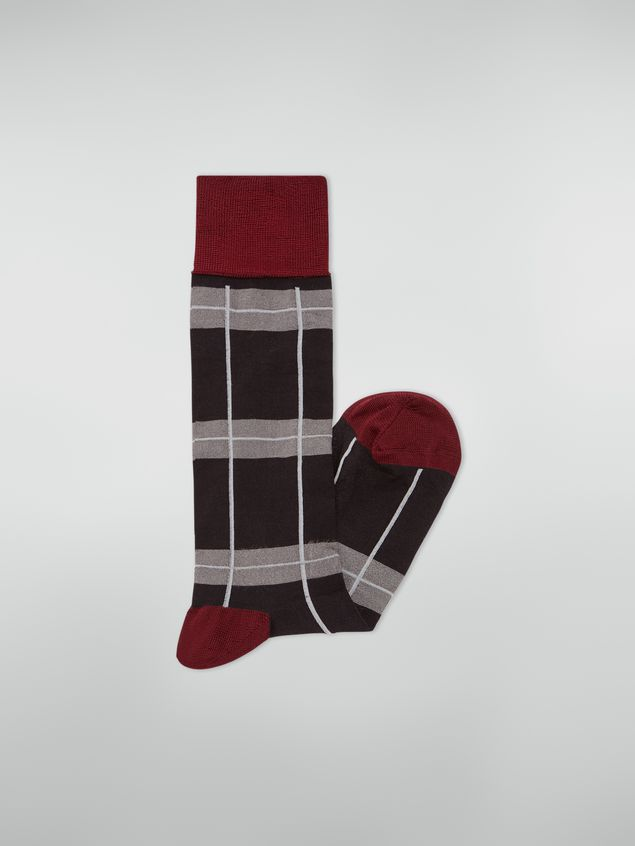 Marni Sock in chequered cotton and polyamide dark grey light grey and red Woman - 2