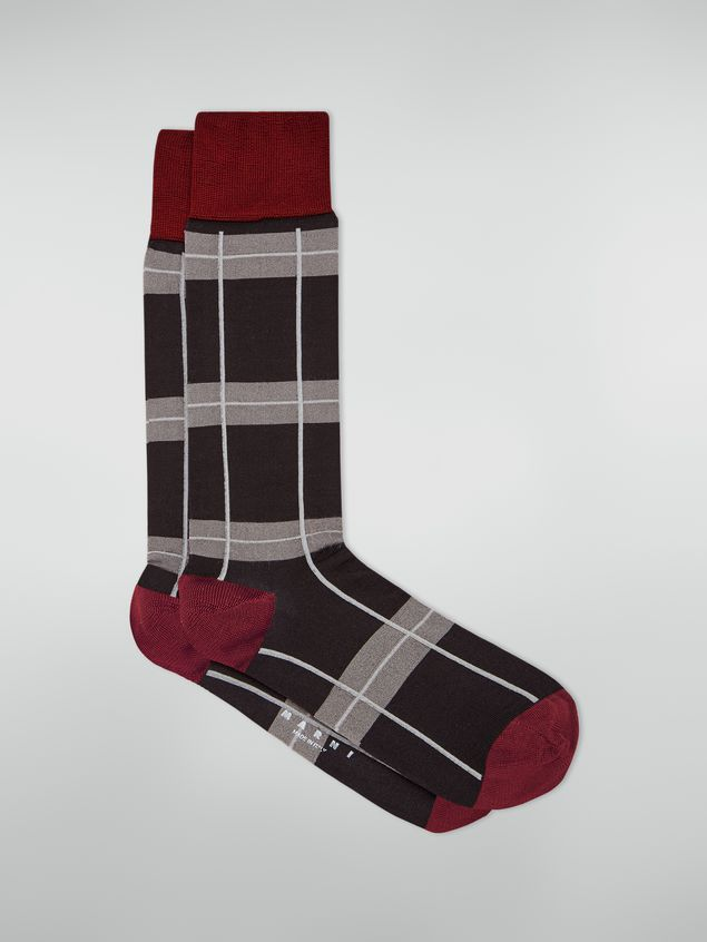 Marni Sock in chequered cotton and polyamide dark grey light grey and red Woman - 1