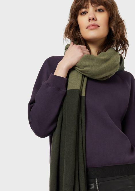 ツーカラースカーフ ウール/カシミア混紡