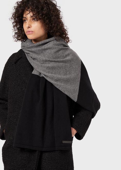 Two-colour wool and cashmere scarf