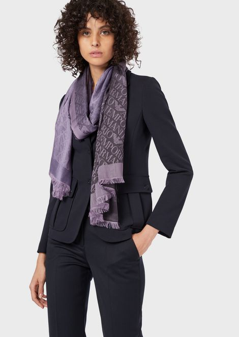Fabric stole with all-over jacquard logo