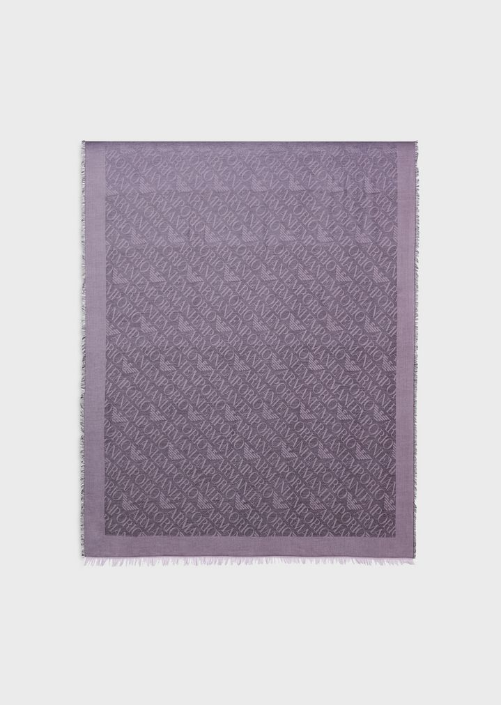 e21a4526d8 Fabric stole with all-over jacquard logo
