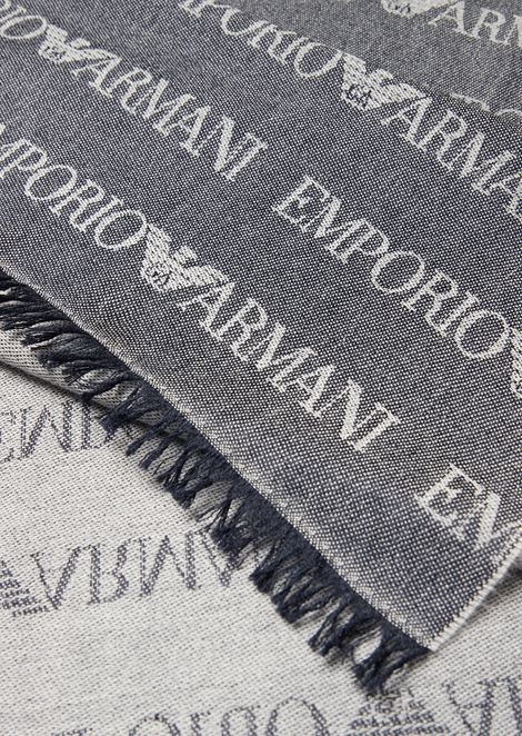 Wool blend scarf with jacquard logo