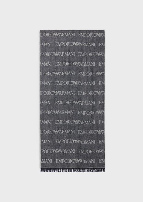 Schal aus Wollmischung mit Jacquard-Logo