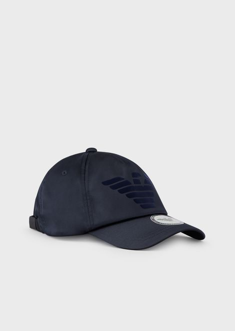 Baseball cap with flocked logo