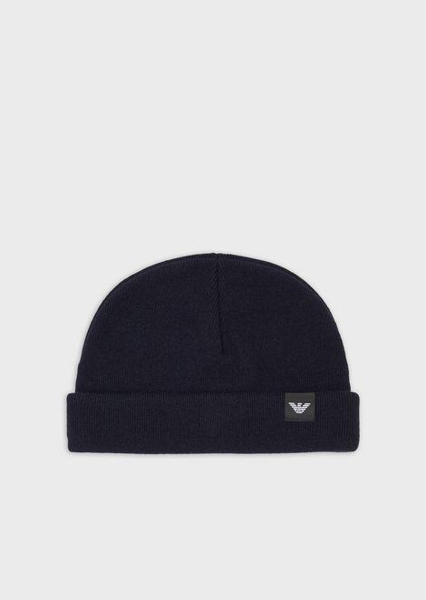 Knit beret with appliqué logo