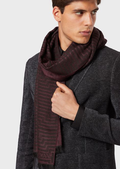 Wool blend scarf with jacquard logo and motif