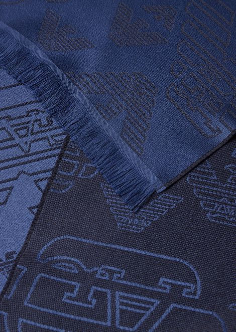 Wool scarf with all-over jacquard eagle logo