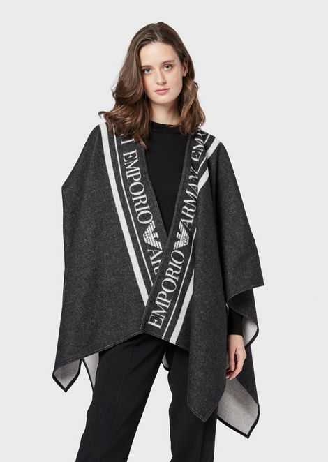 Virgin wool cape with logoed trim