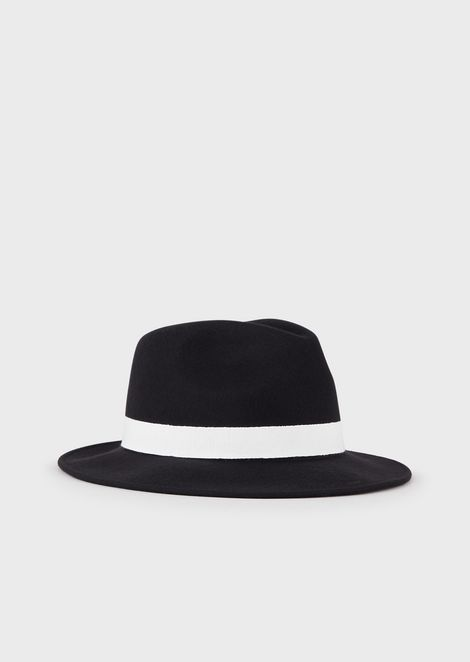 Chapeau Fedora en feutre avec ruban en gros-grain