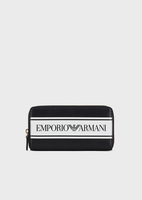 Faux-nappa full-zip wallet with logoed band