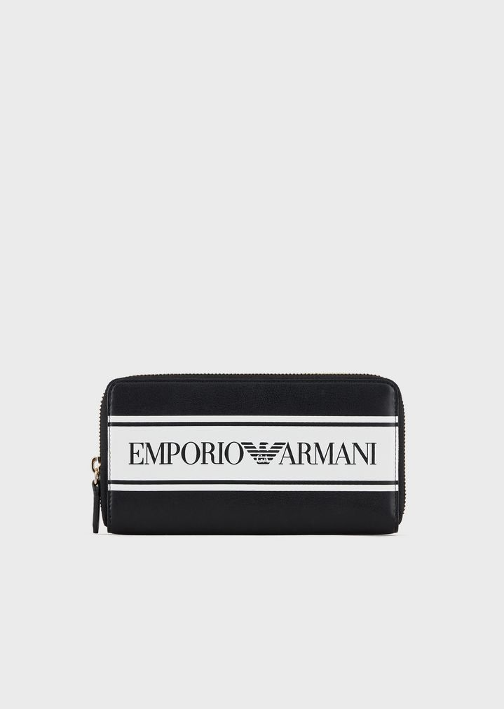 25fc3cb921 Faux-nappa full-zip wallet with logoed band